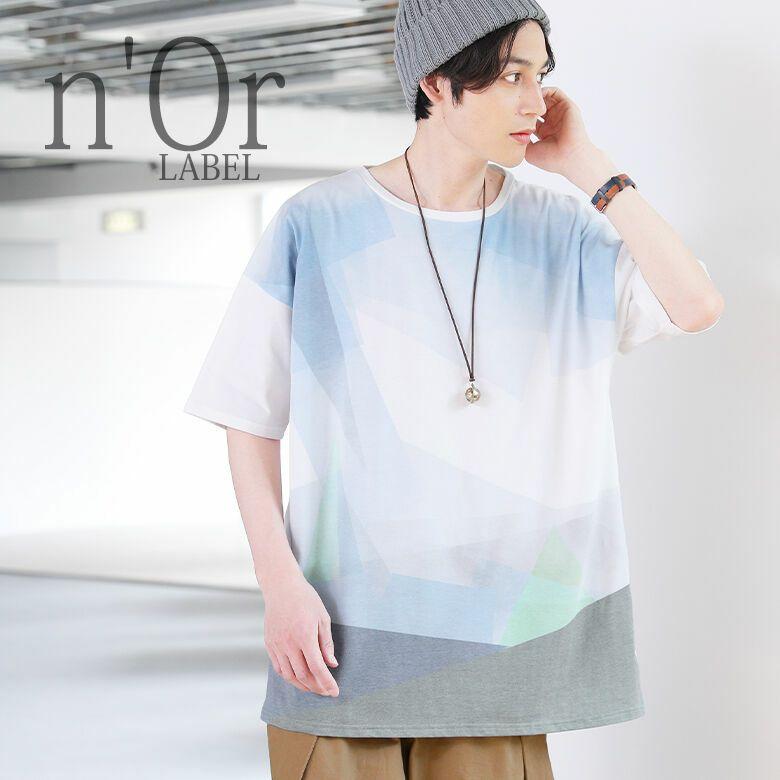n'OrLABEL幾何学デザインプリントTシャツ